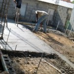 Spreading concrete for the slab