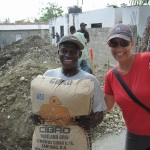 Laurel with one of our many volunteer laborers
